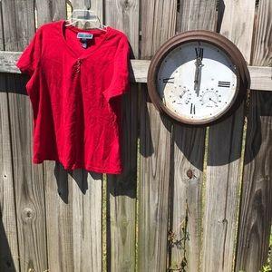 Red petite v neck tee shirt.